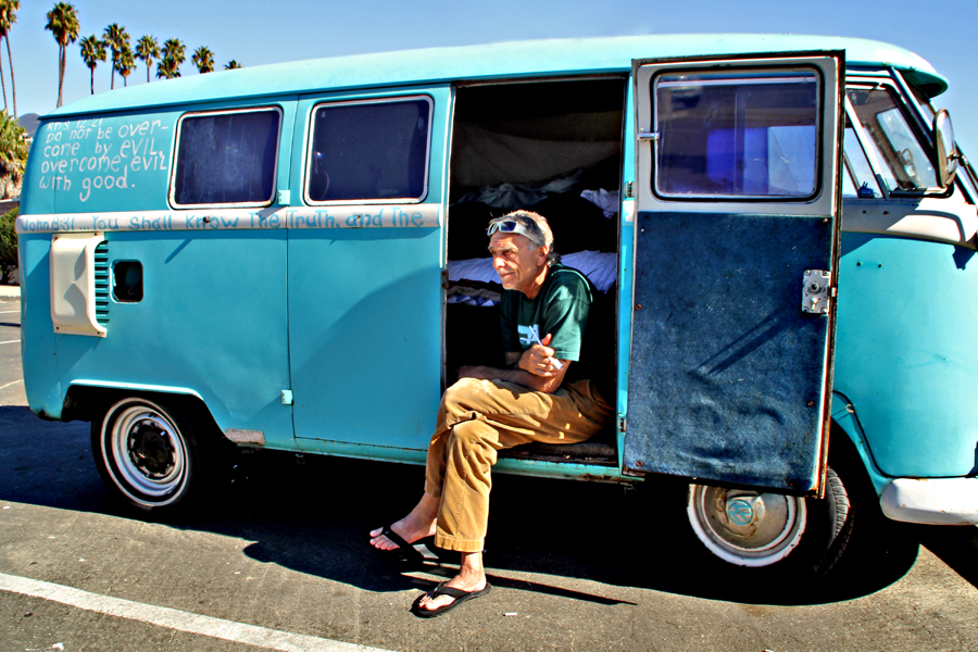 VW Bus by beach in Santa Barbara,California, Road Trip