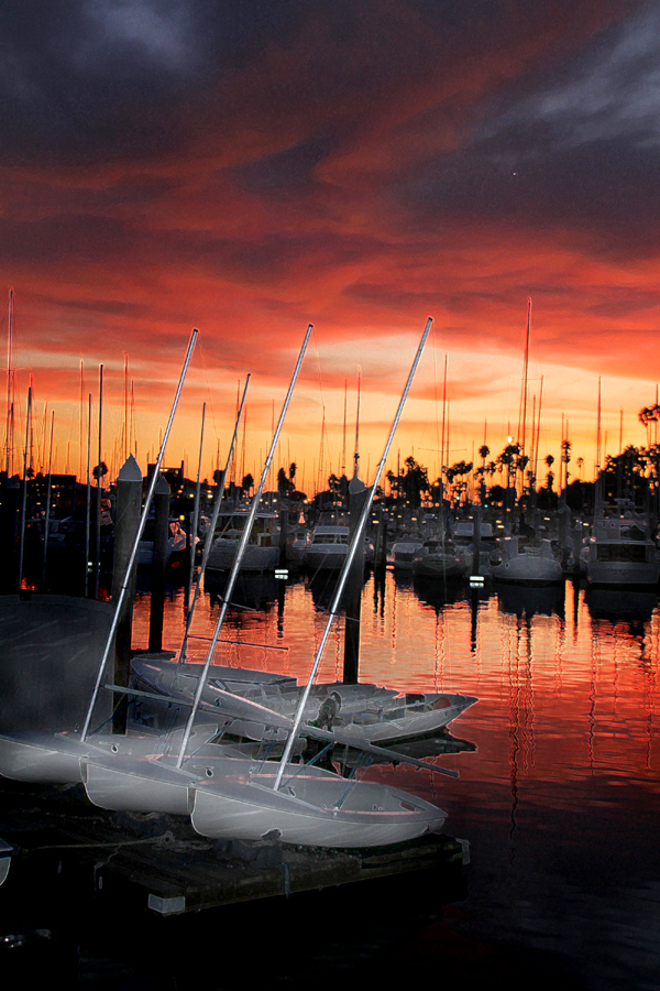 Sunset at the Santa Barbara Harbor, California, Best place for vacation