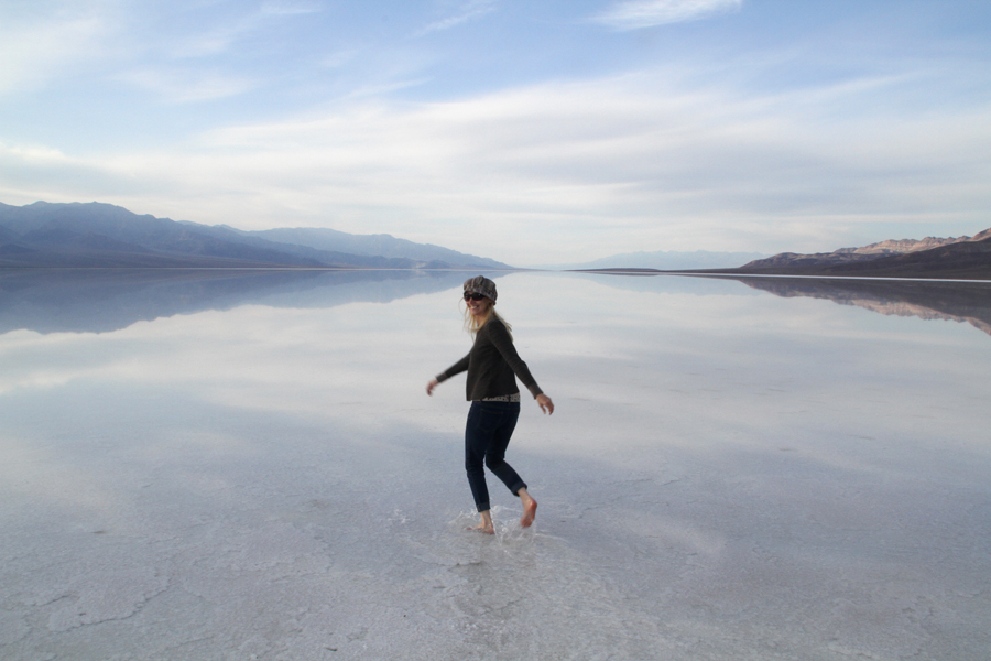 I couldn't resist taking off my shoes and playing!  After heavy rainstorms, a temporary lake forms on the salt beds!