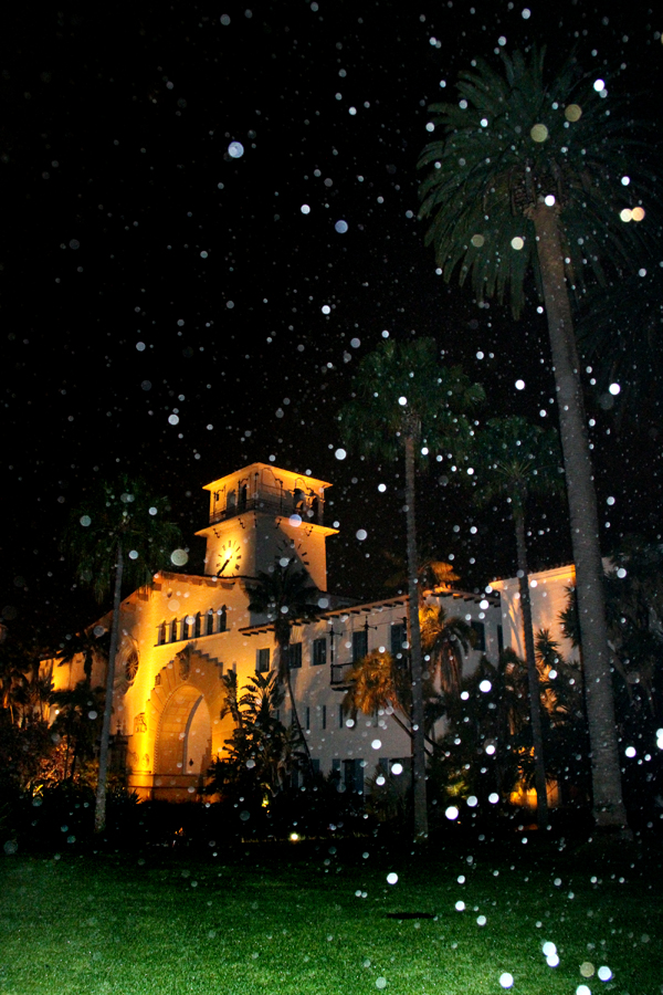 Rainy Night in Santa Barbara, California, Courthouse Sunken Gardens