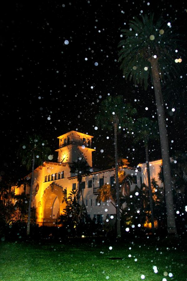 Rainy Night in Santa Barbara, California, Courthouse Sunken Gardens
