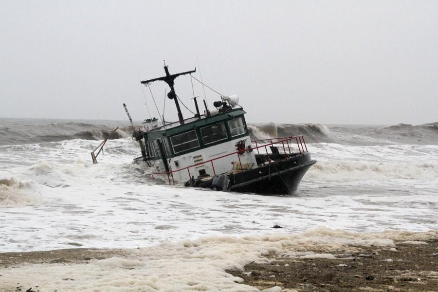 Another Beached Boat, Santa Barbara storms, California