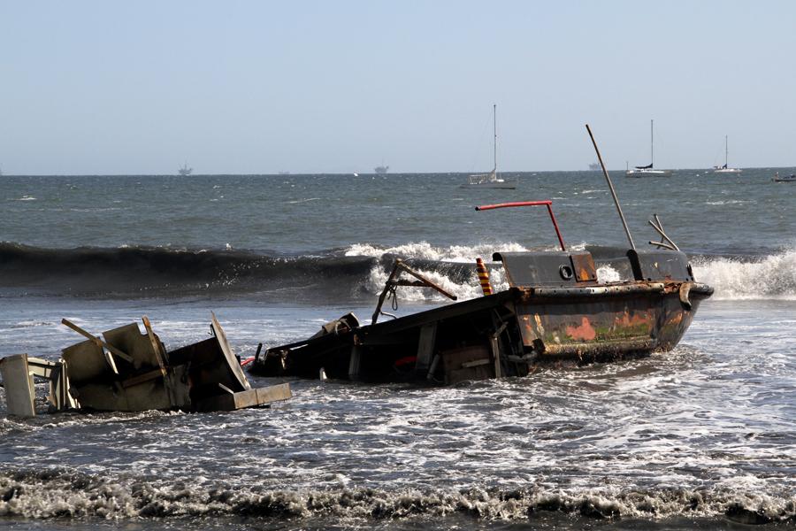 Wreckage, Beach in Santa Barbara, California, after the storm