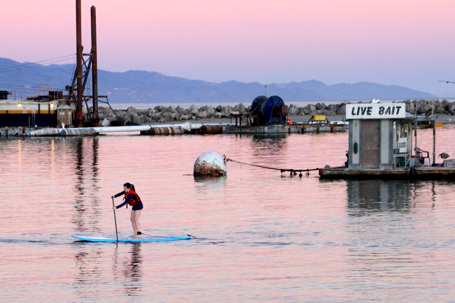 Tsunami damage, travel, santa barbara CA, ocean, beach, bait shack, paddle boarder, sup