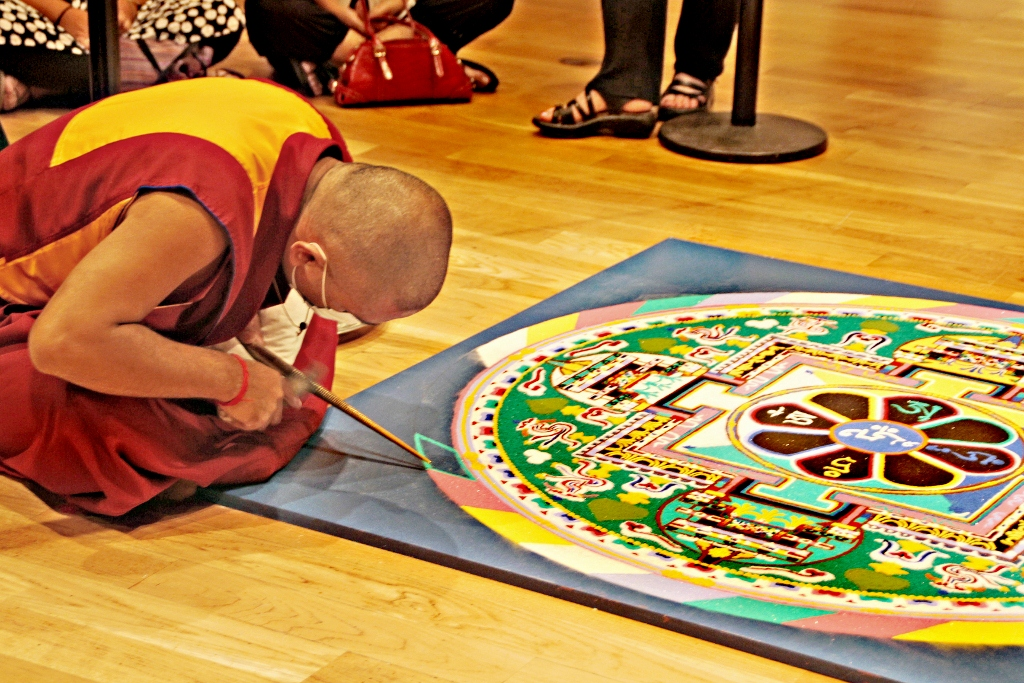 Buddhist Monk creating sand Mandala, Sera Mahayana Buddhist Monastery, Travel,Santa Barbara Museum of Art, vacation