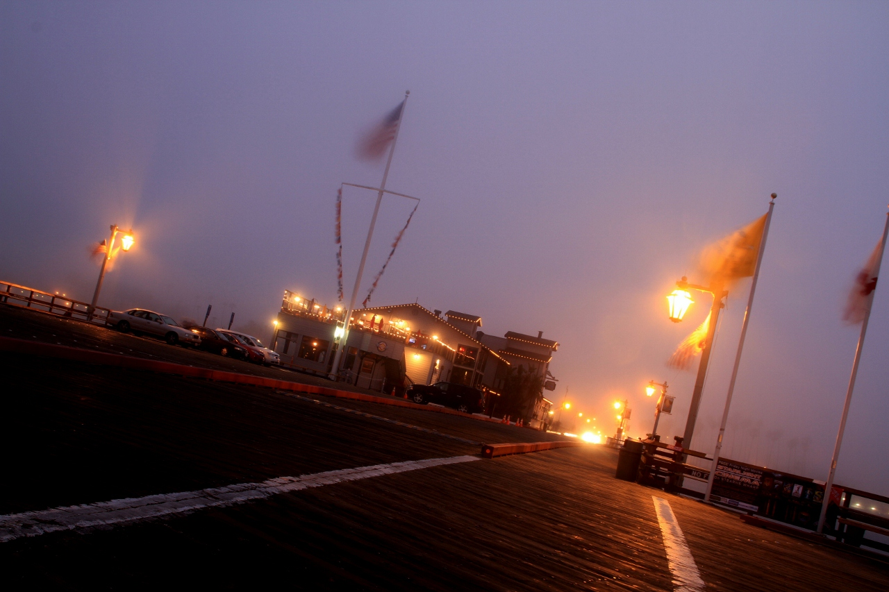 Foggy night, Stearn's Wharf, Santa Barbara CA, Travel