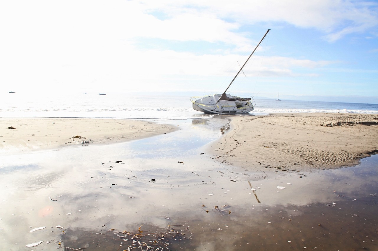 Santa Barbara, California, beached boat, travel, ocean