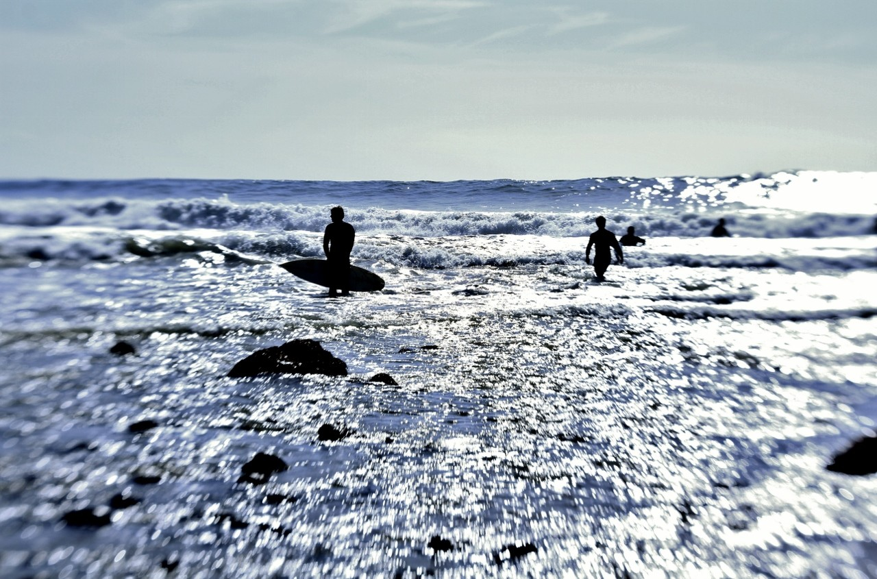 Surfers in ocean, Rincon, California, surf, travel