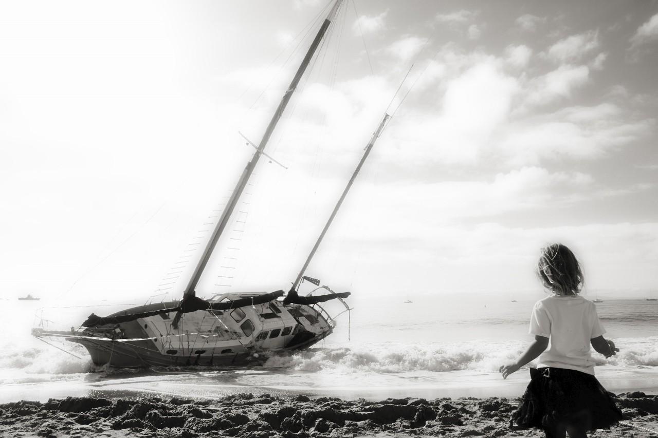 Boat, Sailboat on beach, Santa Barbara, California, travel, vacation