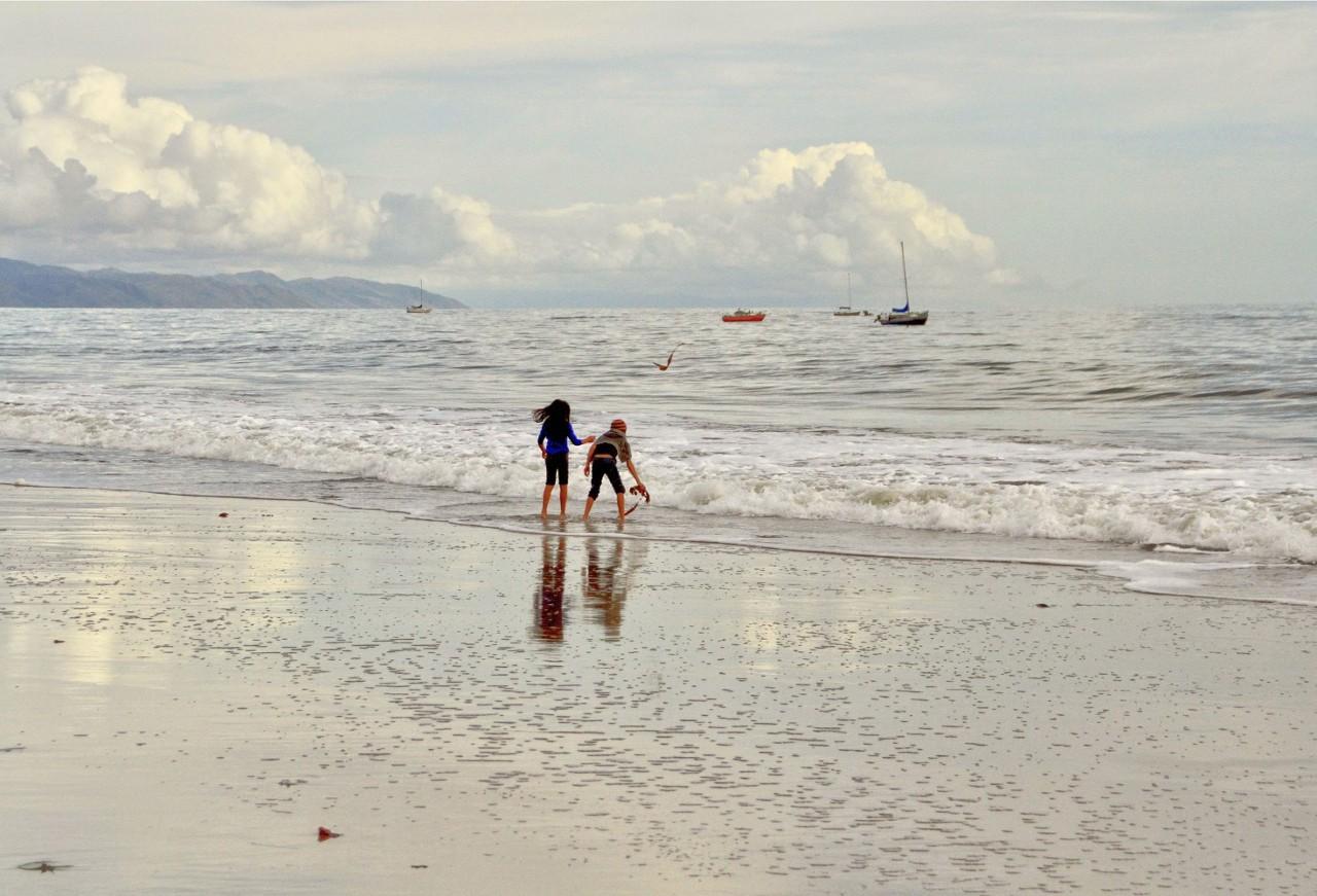 Santa Barbara, California, beach, girls playing on beach, vacation, travel, oceanfront