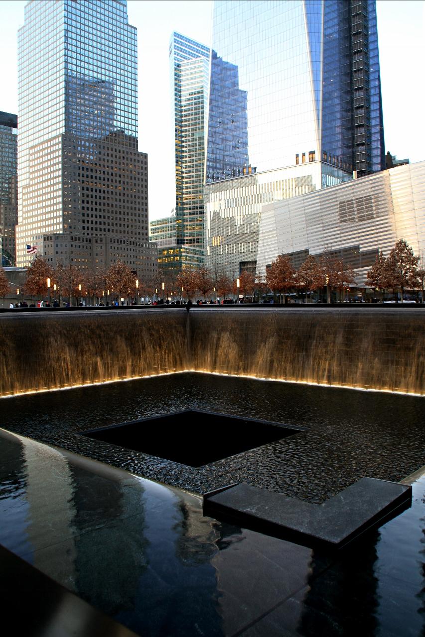 pool at memorial in New York City, 9/11 Memorial