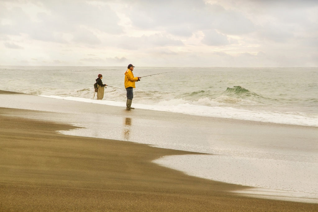Ocean Fishing on Moonstone Beach in California