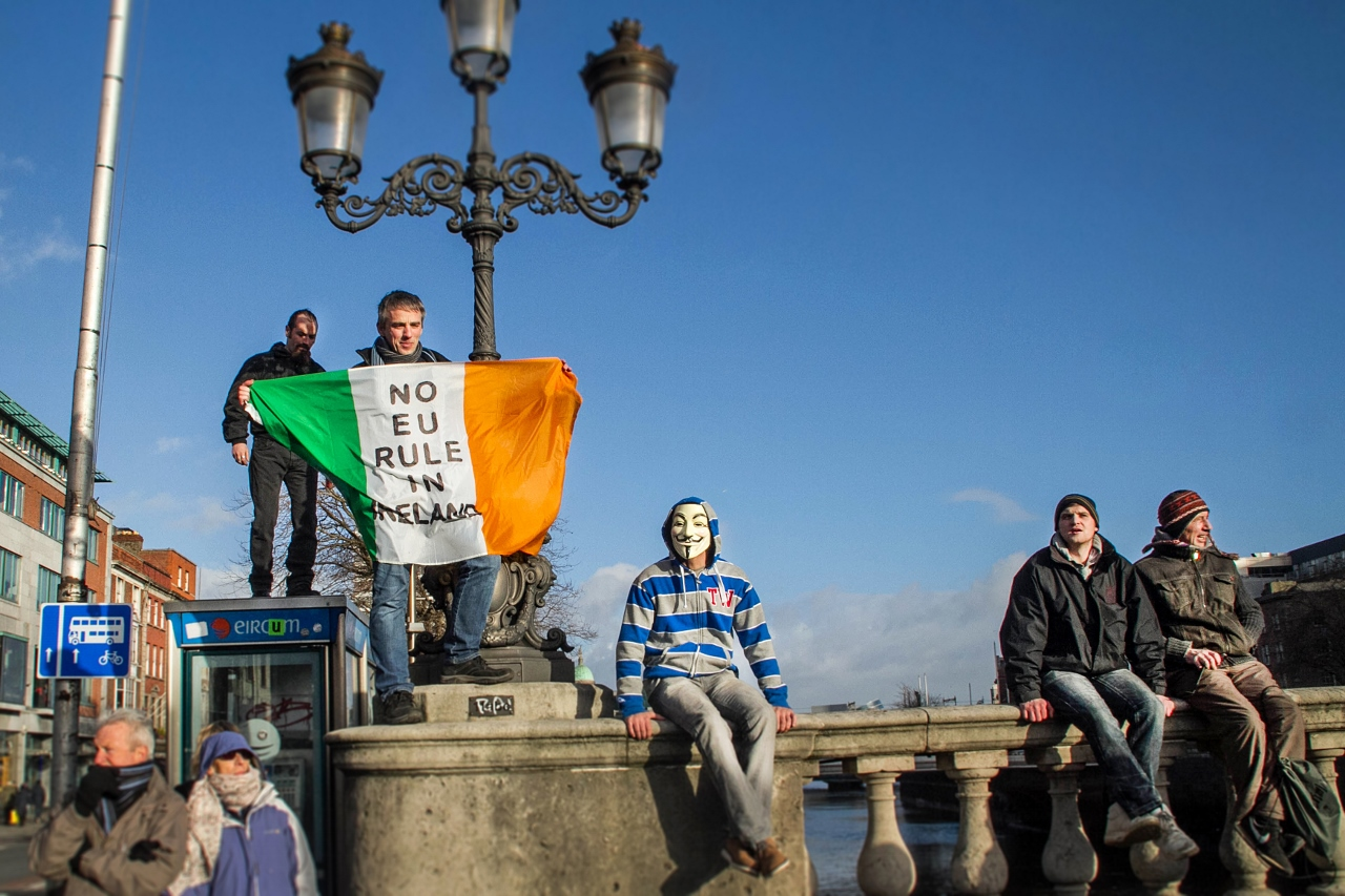 Protesters in Dublin Ireland by Julie Miche travel blogger