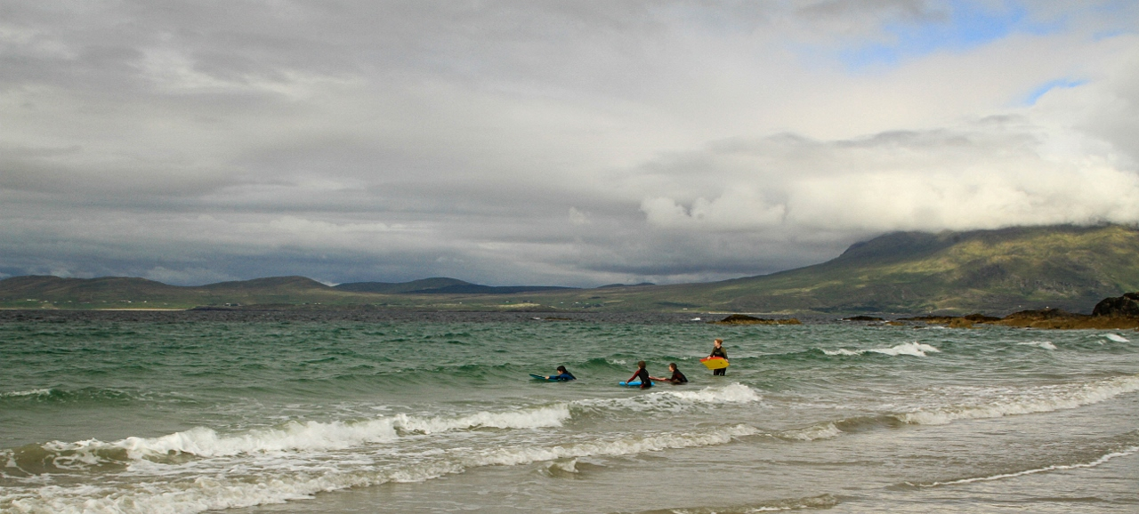 Young surfers at Renvyle Beach, Ireland