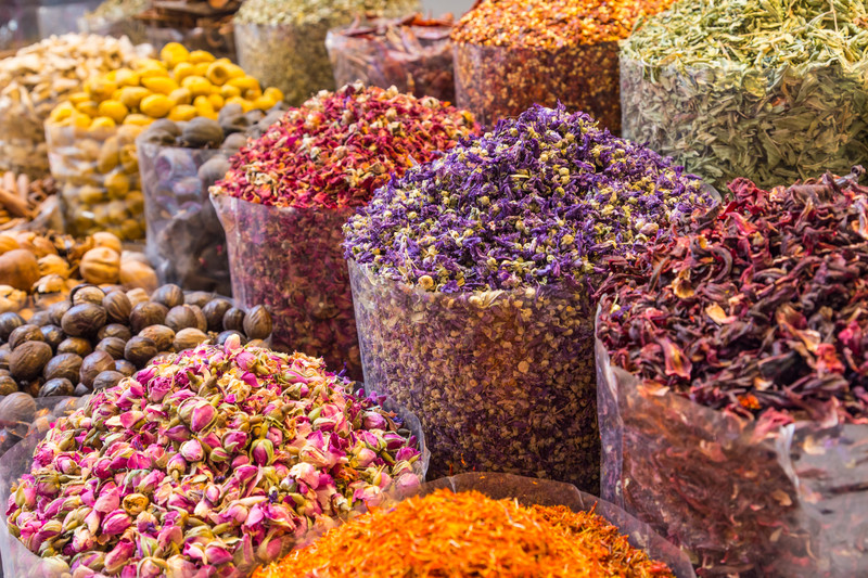 Spices and herbs at Morocco traditional market.