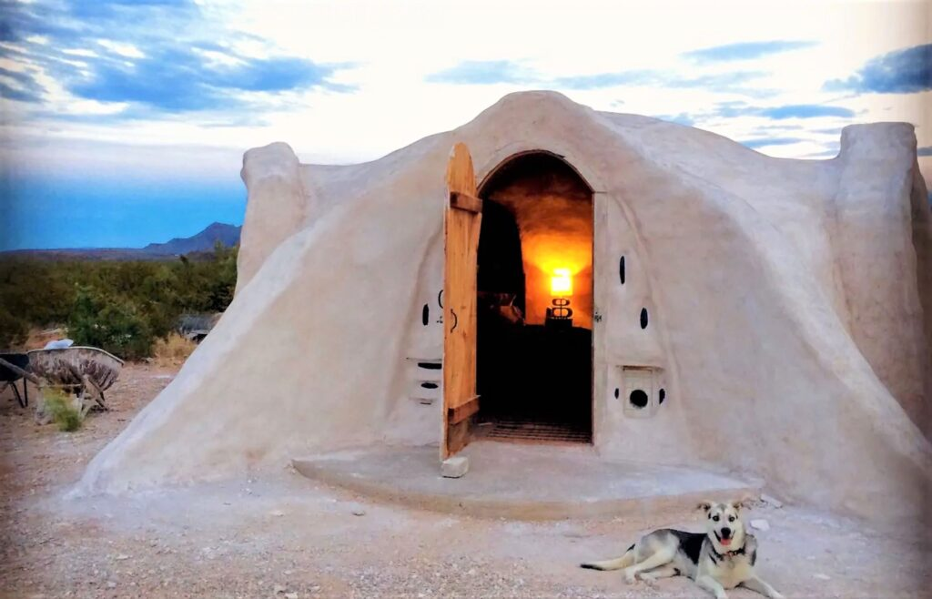 Stay at this off grid airbnb adobe dome home in Terlingua, Texas