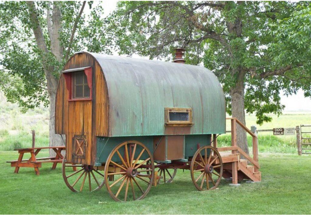 Wyoming: Restored 1920s Sheep Wagon Near Bighorn Forest